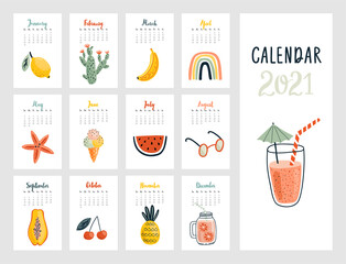 Wall Mural - Calendar 2021. Cute monthly calendar with lifestyle objects,