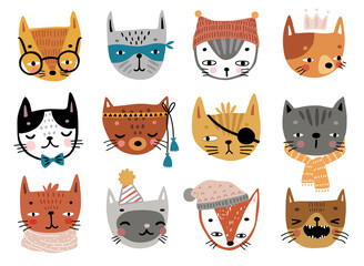 Wall Mural - Cute kittens. Childish characters with different emotions - joy, anger, happines and others.