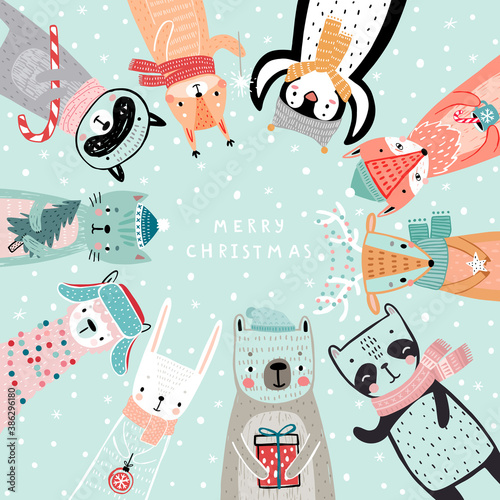 Wall mural Christmas card with animals, hand drawn style. Woodland characters, bear, fox, raccoon, rabbit, penguin, panda,deer and others.