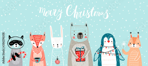 Wall mural Christmas card with animals, hand drawn style. Woodland characters, bear, fox, raccoon, rabbit, penguin and squirrel.