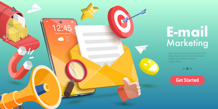 3D Vector Conceptual Illustration of Mobile Email Marketing and Advertising Campaign, Newsletter and Subscription, Digital Promotion, Sending a AD Message.