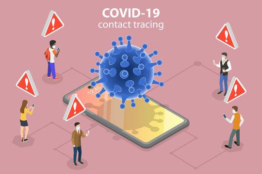3D Isometric Flat Vector Conceptual Illustration of Coronavirus Contact Tracing App, ENS - Exposure Notification System.