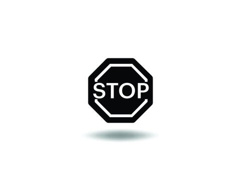 Stop Icon Vector illustration. roadsign symbol. stop traffic sign, emblem isolated on white background with shadow, Flat style for graphic and web design, logo. EPS10 black pictogram. svg cut file