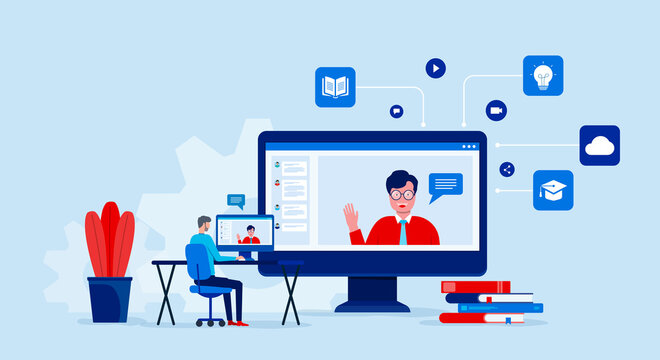 Illustrations flat design online education and learning with video conference and  online meeting working from home concept