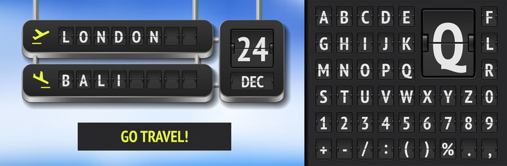 Fototapeta Black 3d airport timetable with Date of tour. Analog scoreboard font on dark background. Airline departure board for flight and train trip advertisement banner with flip airport board font template. obraz