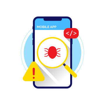 Release beta version. find Bug for Report button on mobile phone device app concept illustration flat design vector. simple, clean and modern style