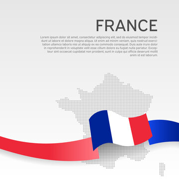 France wavy flag and mosaic map on white background. Wavy ribbon color flag of france. National poster. Business booklet. Vector tricolor design. State french patriotic banner, flyer