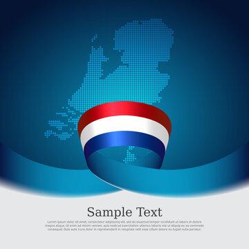 Netherlands flag background. Mosaic map, netherlands flag on blue white background. National poster. Vector design. State patriotic banner, cover, business flyer
