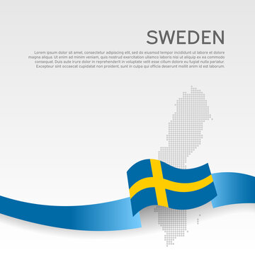 Background with wavy flag and mosaic map of sweden. Sweden flag with wavy ribbon. National poster design. Business booklet. State swedish patriotic banner, flyer. Vector illustration