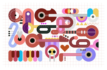 Geometric style graphic illustration of different musical instruments on a grid. Colored design with guitars, trumpets, sax, piano and drum. Abstract art background.