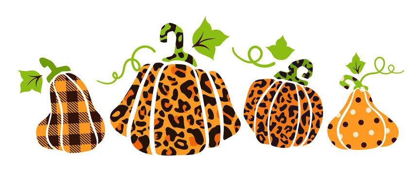 Halloween pumpkin bundle - leopard print, polka dot and buffalo plaid pumpkins, jack o lantern funny cartoon flat holiday isolated autumn modern cliparts for party decoration, clothes print - vector