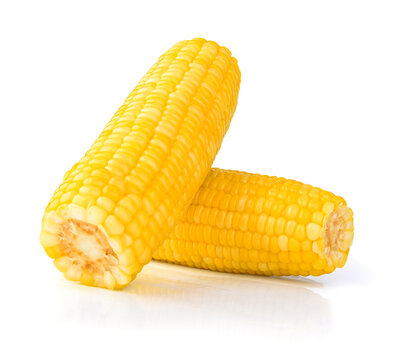 Street Food : close up view, boil corn on the white background.