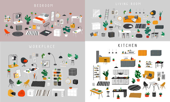Ineriors sets. Stylish comfy furniture and modern home decorations in trendy Scandinavian or hygge style. Cozy Interior furnished home plants for sleeping. Flat cartoon vector illustration