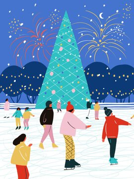 Merry Christmas. Happy people at the rink. Hand draw. Evening Christmas tree, snow, garland and fireworks in the background. Exciting diverse cartoon people. Posters for the celebration of Christmas.