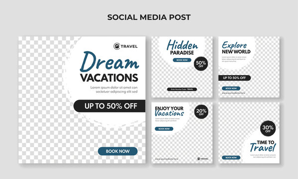 Dream vacation social media post template. Travel banner collection
