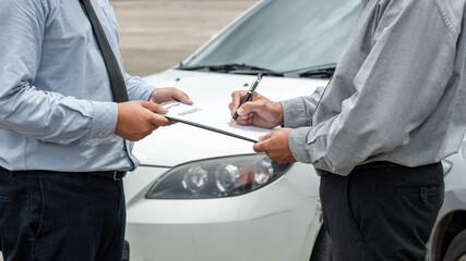 senior man and insurance agent claim process after car crash.