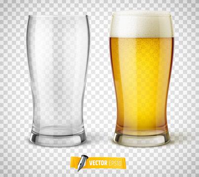 Verres de bière vectoriels sur fond transparent