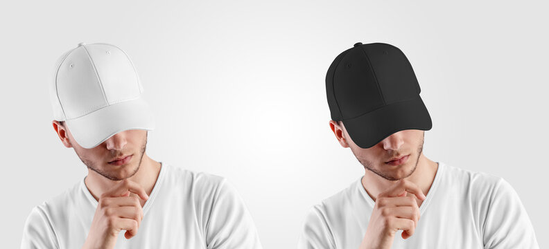 Template for a white, black cap on a guy with his head down, front view, blank hat with a visor, design presentation.