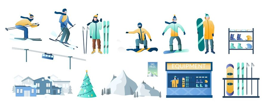 Winter ski resort set, vector isolated illustration. Skier and snowboarder cartoon characters, cable car, mountain slope, hotel, ski and snowboard equipment for rent. Winter travel outdoor activity.