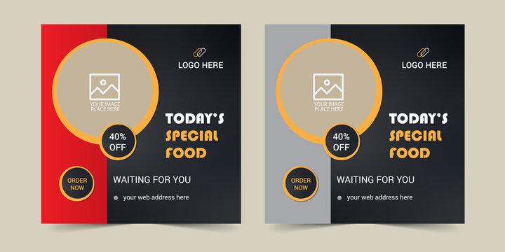 Food menu banner template, Social media food template, food banner, Instagram Post , Food template with orange, advertainment, Ad banner, menu design, Web banner, Advertising Banner.