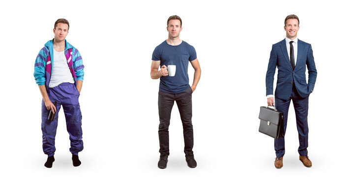 Full body portraits of the same young man in different appearances