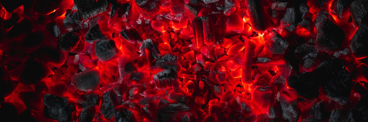 hot red coals among black ash, wallpapers for mobile devices, abstract