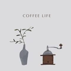 コーヒーミルと一輪挿しの植物(文字有)
