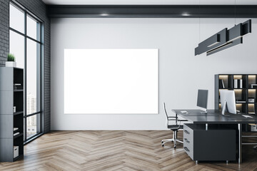Luxury coworking office in a loft style interior with blank banner