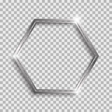 Silver double hexagon frame with shadows and highlights isolated on a transparent background.