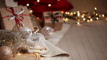 Christmas background with details of home christmas decor. Festive christmas atmosphere concept.