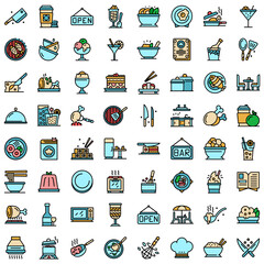 Restaurant icons set. Outline set of restaurant vector icons thin line color flat on white
