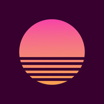 Retro sunset in the style of the 80s-90s. Abstract background with a sunny gradient. Purple and yellow colors. Design template for logo, icons, banners, prints. Isolated dark background. Vector