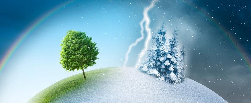 Jahreszeitenwechsel von sommer zu winter