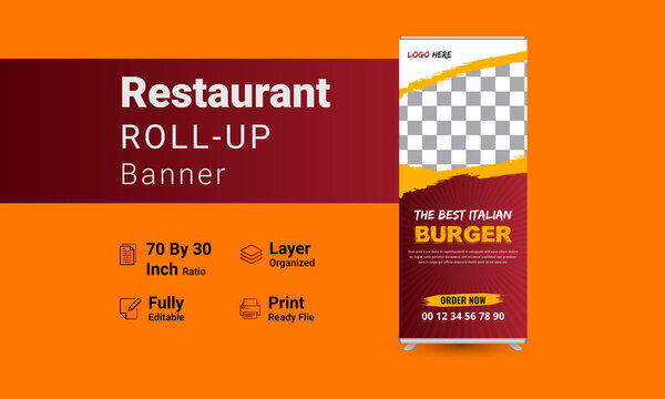 Modern food roll up banner design template and X stand banner for restaurant and hotel