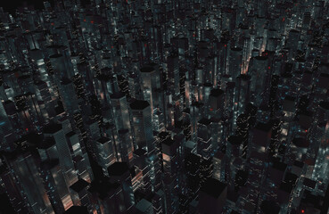 Wall Mural - 3D Rendering of large mega city with many tall buildings at night. Top aerial view. Concept of next generation technology, fin tech, big data, 5g fast network, machine learning, night life