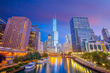 Wall Mural - Downtown chicago skyline cityscape in USA