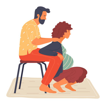 Birth position for pregnant woman, husband help wife to relax, making massage of shoulders, comfortable posture for birthing, man support mother during birth pains, squatted female lean at male knees