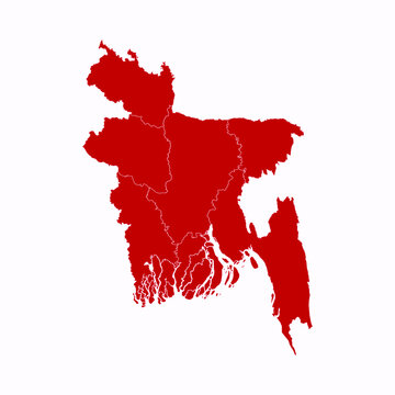 High Detailed Red Map of Bangladesh on White isolated background, Vector Illustration EPS 10