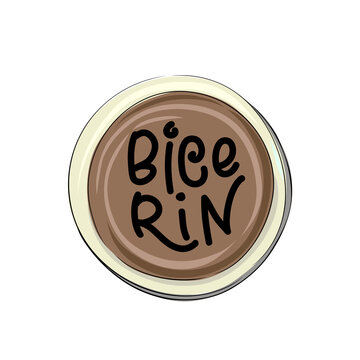 Types of coffee - bicerin - hand drawn lettering illustration in a circle cup.
