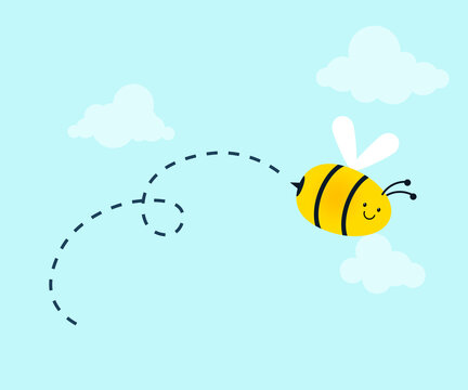 Bee with trail illustration. Clipart image.