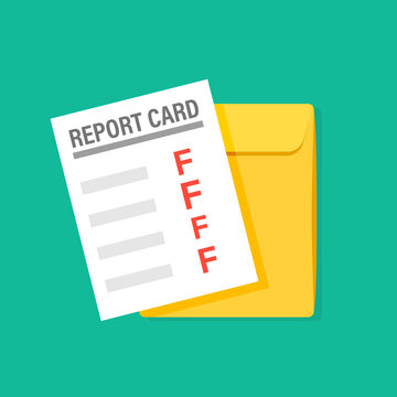 Bad report card illustration. Clipart image.