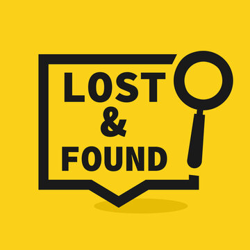 Lost and found speech bubble design. Clipart image.