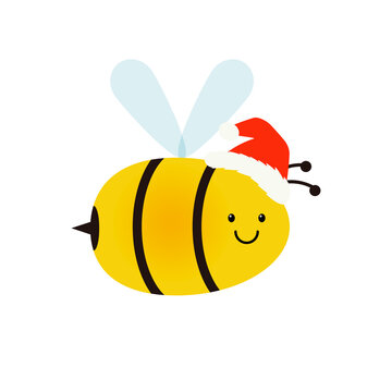 Christmas bee icon. Clipart image isolated on white background.
