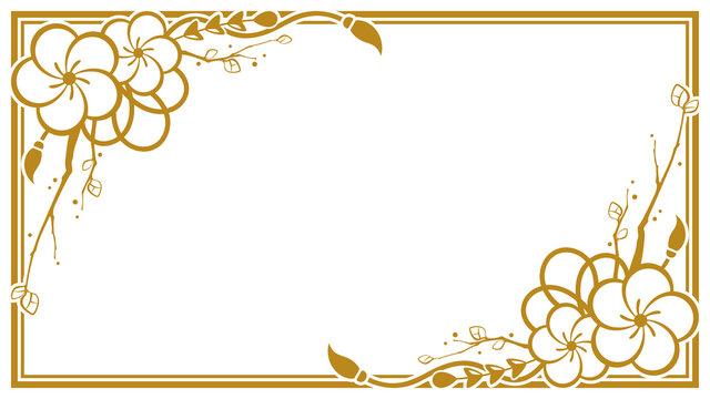梅の和風な飾り枠のイラスト素材_シルエット_フレーム_16:9