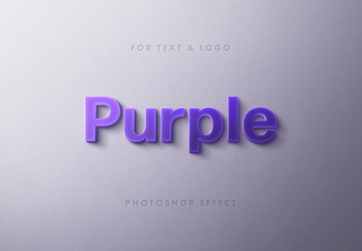 Purple Light Box 3D Text Effect Mockup