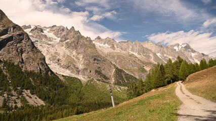 Wall Mural - Alpine Trail with Mont Blanc Massif Vista in Northern Italy