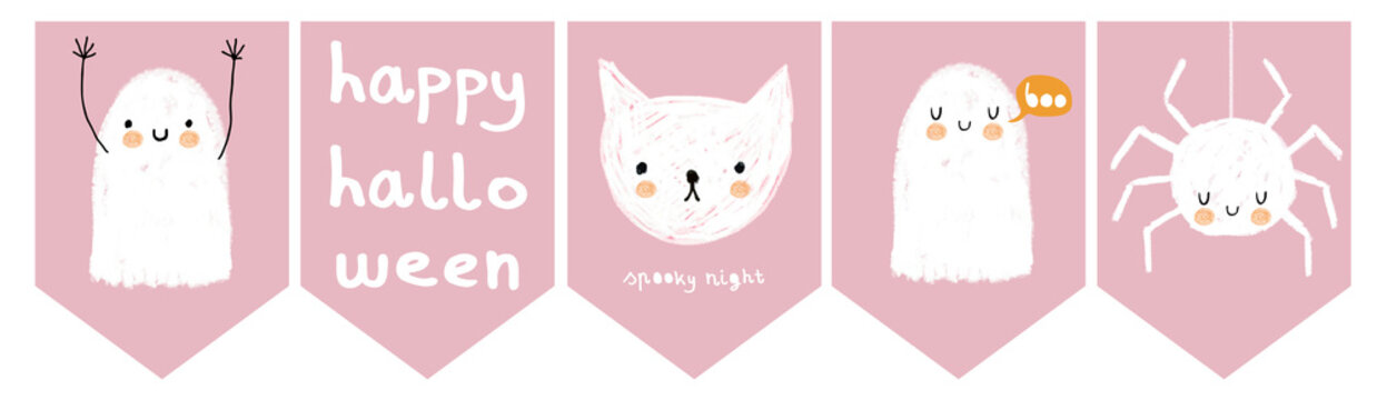 Simple Infantile Style Halloween Party Flags with Funny Ghost, White Cat and Fluffy Spider. White Ghosts, Kitty and Spider Isolated on a Pastel Pink Background. Lovely Pink Halloween Decoration.