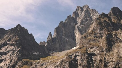 Wall Mural - Granite Alpine Peaks of the Italian Alps. Mont Blanc Massif Region