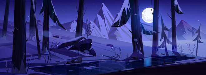 Winter landscape with mountains, forest and moon in sky at night. Vector cartoon illustration of snowy wood with pine trees, frozen stream and rocks on background