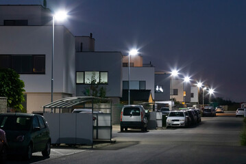 modern street with apartment building and led street lights Fotomurales